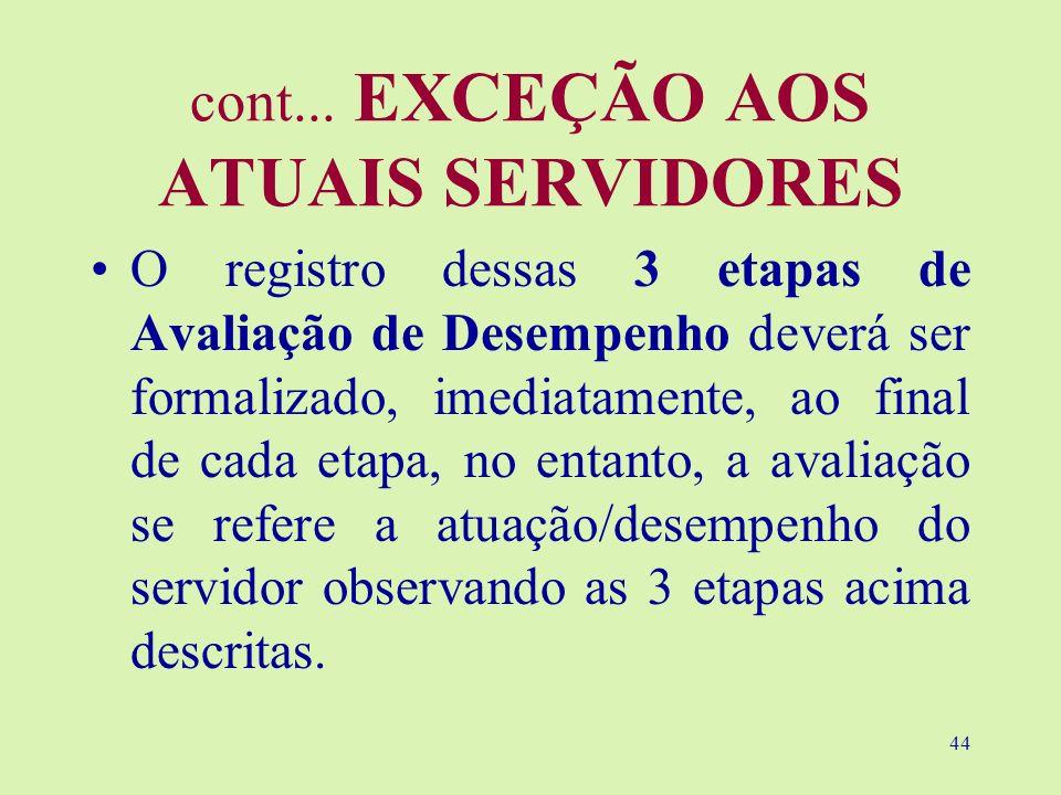 44 cont... EXCEÇÃO AOS ATUAIS SERVIDORES O registro dessas 3 etapas de Avaliação de Desempenho deverá ser formalizado, imediatamente, ao final de cada