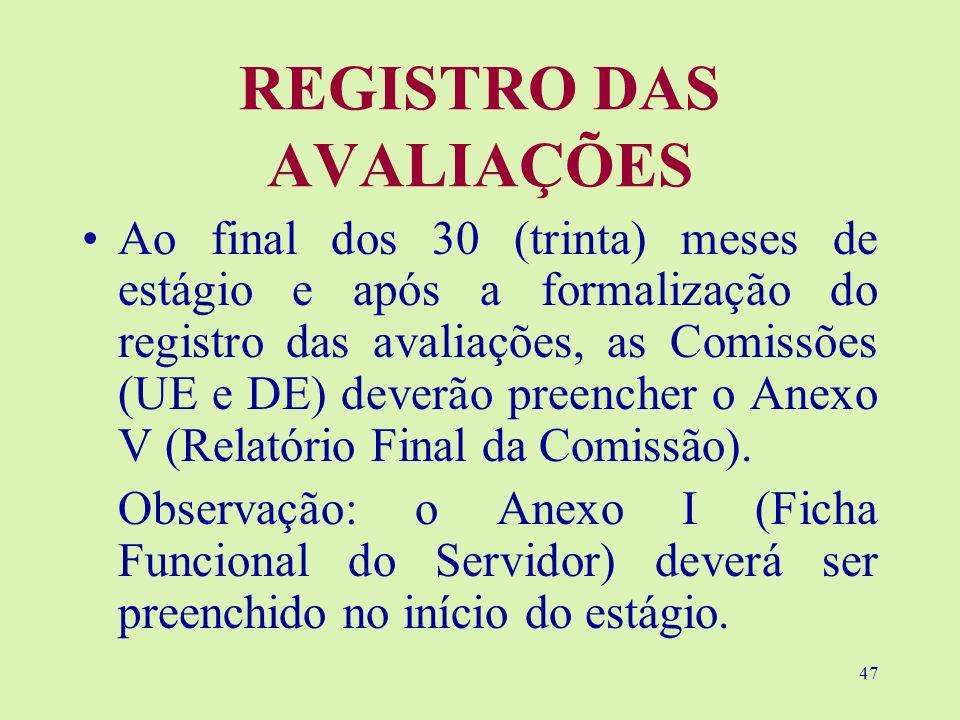 47 REGISTRO DAS AVALIAÇÕES Ao final dos 30 (trinta) meses de estágio e após a formalização do registro das avaliações, as Comissões (UE e DE) deverão