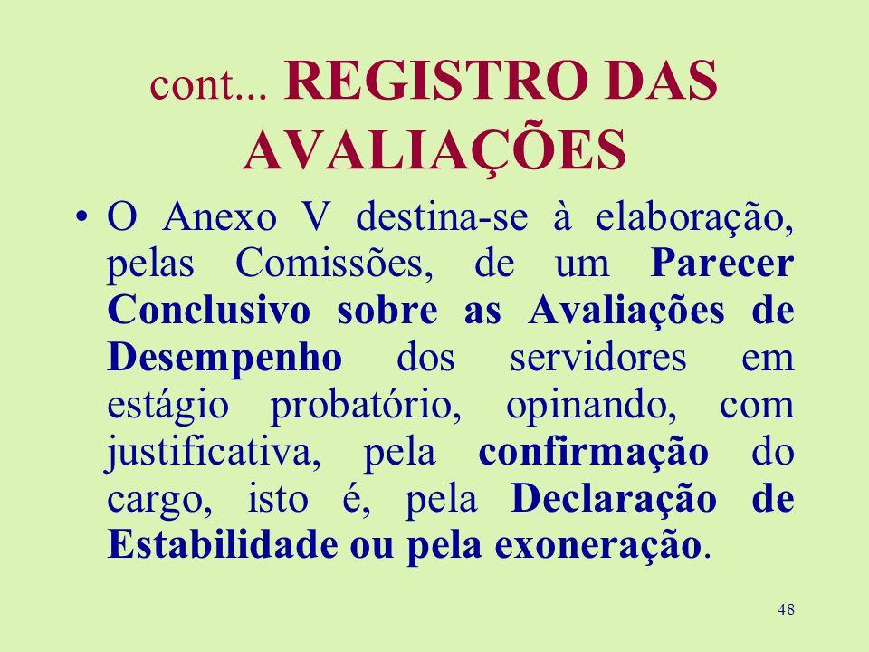 48 cont... REGISTRO DAS AVALIAÇÕES O Anexo V destina-se à elaboração, pelas Comissões, de um Parecer Conclusivo sobre as Avaliações de Desempenho dos