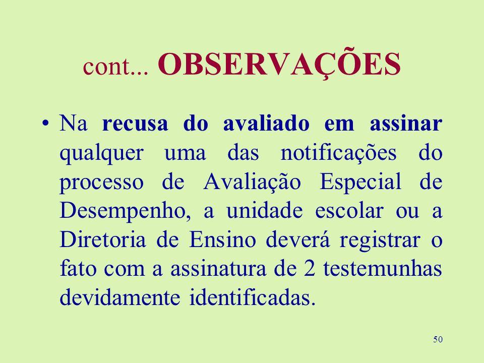 50 cont... OBSERVAÇÕES Na recusa do avaliado em assinar qualquer uma das notificações do processo de Avaliação Especial de Desempenho, a unidade escol