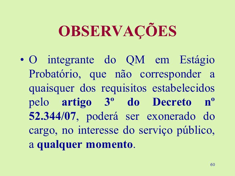 60 OBSERVAÇÕES O integrante do QM em Estágio Probatório, que não corresponder a quaisquer dos requisitos estabelecidos pelo artigo 3º do Decreto nº 52