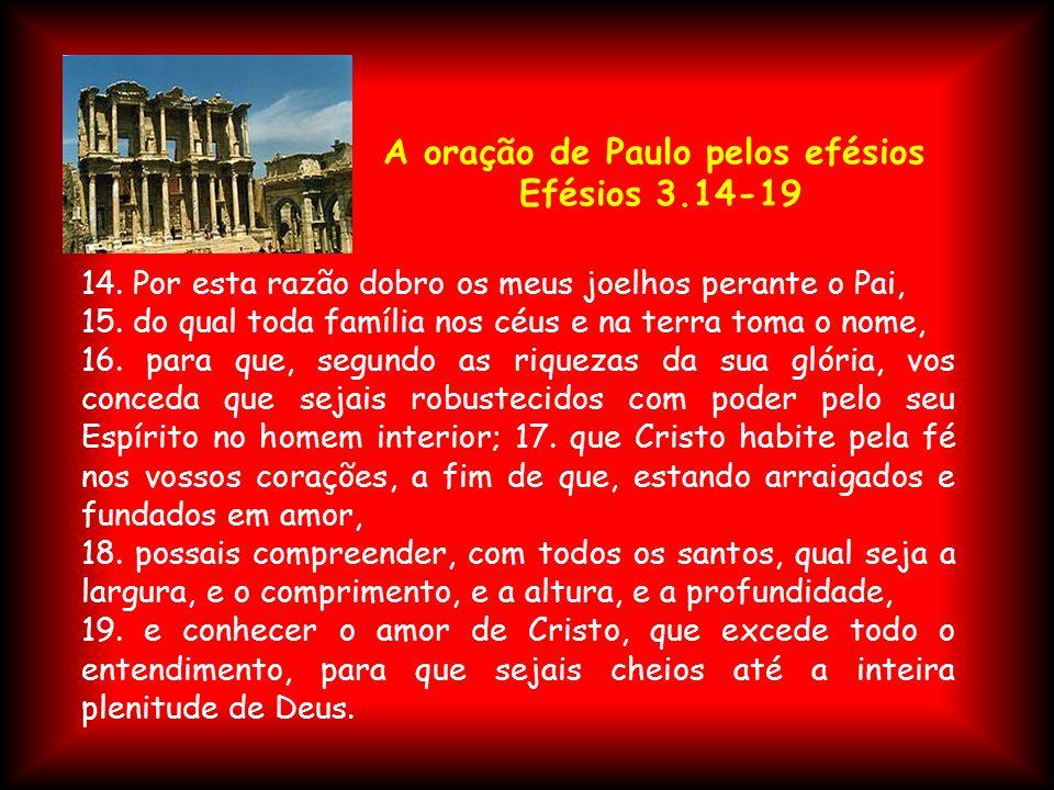 A oração de Paulo pelos efésios Efésios 3.14-19 14. Por esta razão dobro os meus joelhos perante o Pai, 15. do qual toda família nos céus e na terra t