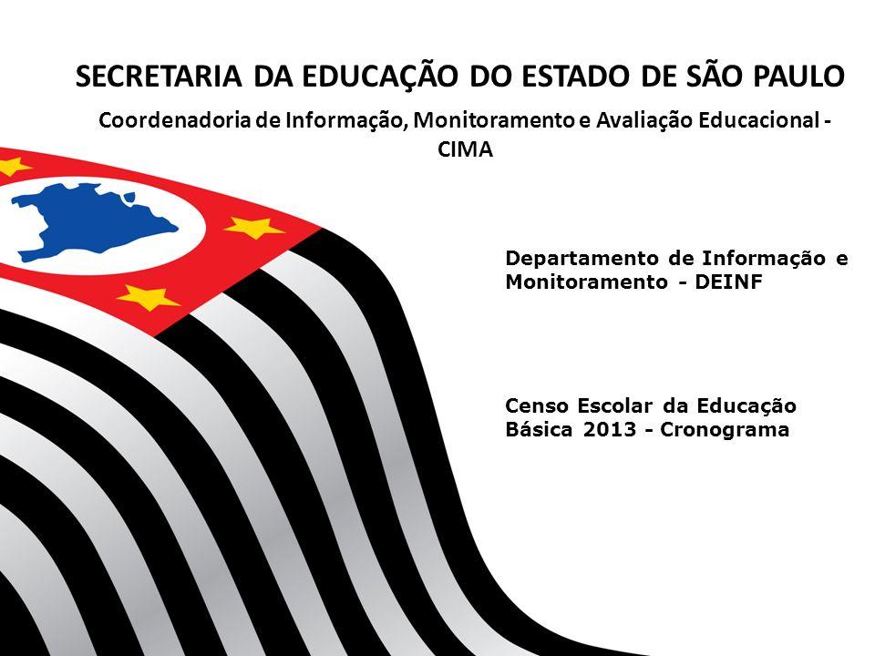 Departamento de Informação e Monitoramento - DEINF Coordenadoria de Informação, Monitoramento e Avaliação Educacional - CIMA SECRETARIA DA EDUCAÇÃO DO