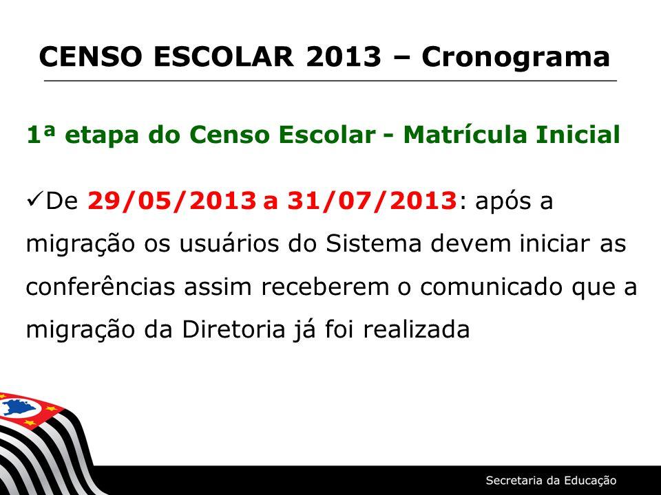 1ª etapa do Censo Escolar - Matrícula Inicial De 29/05/2013 a 31/07/2013: após a migração os usuários do Sistema devem iniciar as conferências assim r