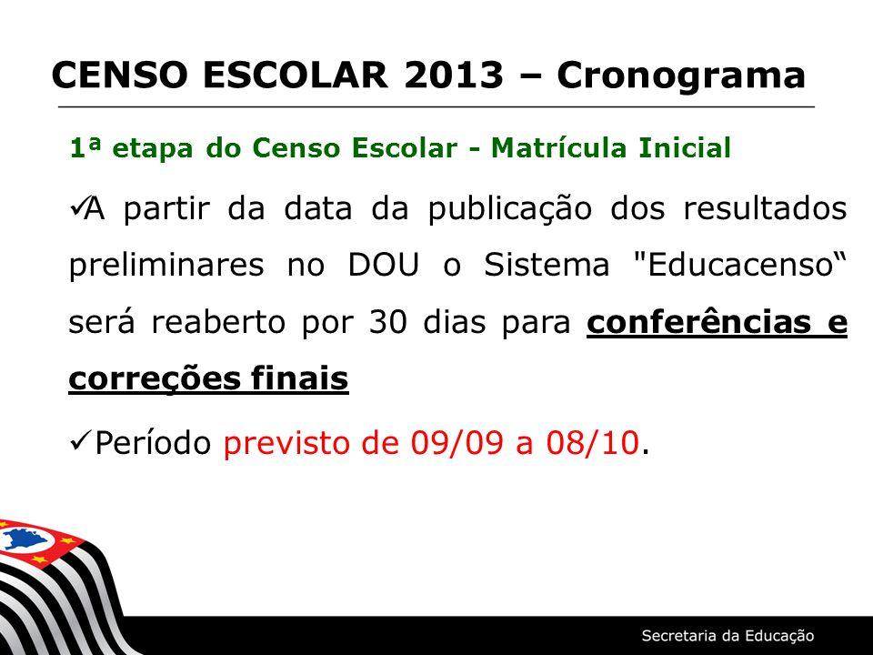 1ª etapa do Censo Escolar - Matrícula Inicial A partir da data da publicação dos resultados preliminares no DOU o Sistema