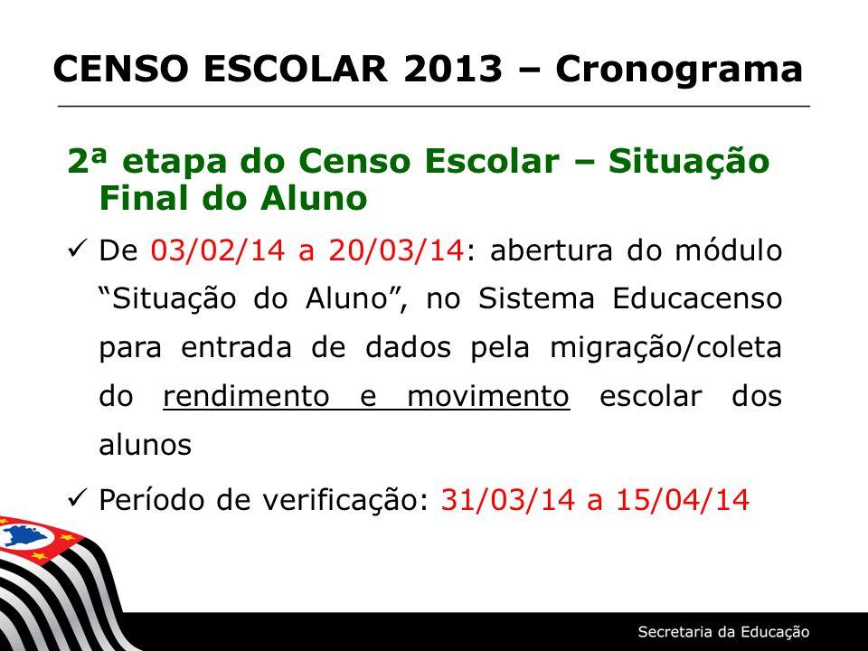 2ª etapa do Censo Escolar – Situação Final do Aluno De 03/02/14 a 20/03/14: abertura do módulo Situação do Aluno, no Sistema Educacenso para entrada d