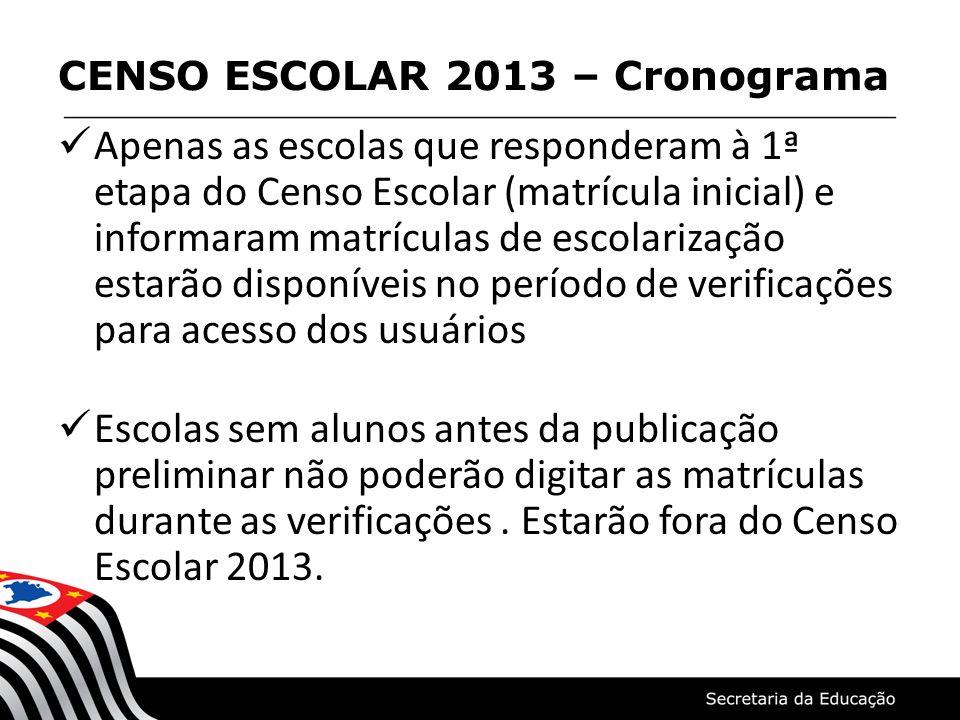 Apenas as escolas que responderam à 1ª etapa do Censo Escolar (matrícula inicial) e informaram matrículas de escolarização estarão disponíveis no perí