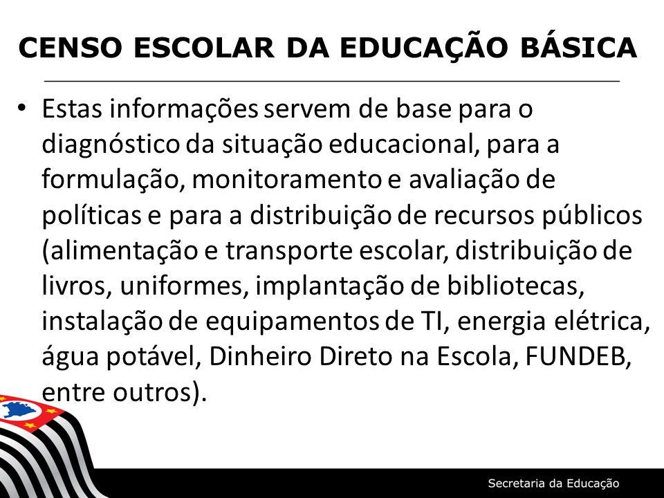 Estas informações servem de base para o diagnóstico da situação educacional, para a formulação, monitoramento e avaliação de políticas e para a distri