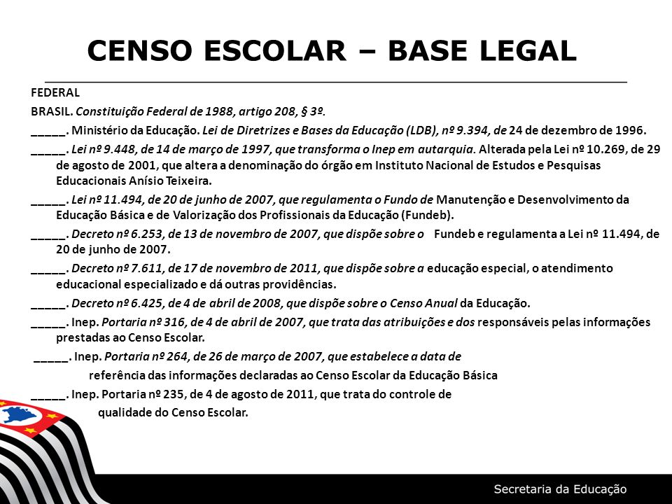 CENSO ESCOLAR – BASE LEGAL FEDERAL BRASIL. Constituição Federal de 1988, artigo 208, § 3º. _____. Ministério da Educação. Lei de Diretrizes e Bases da