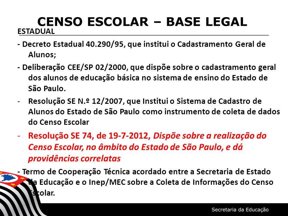 CENSO ESCOLAR – BASE LEGAL ESTADUAL - Decreto Estadual 40.290/95, que institui o Cadastramento Geral de Alunos; - Deliberação CEE/SP 02/2000, que disp