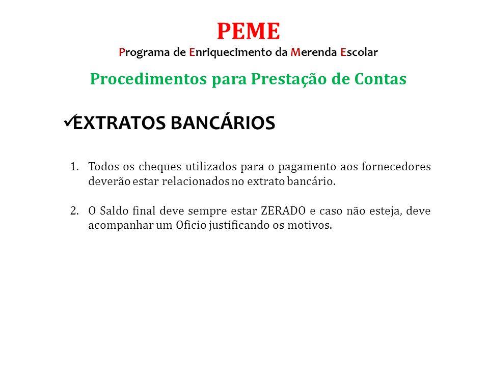 1.Todos os cheques utilizados para o pagamento aos fornecedores deverão estar relacionados no extrato bancário.