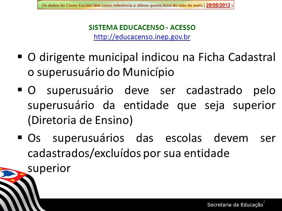 Os campos de 19 (Código do órgão regional de ensino) 19a (Nome do órgão regional de ensino) e 20 (Dependência administrativa e Entidade Superior) são campos fechados para alteração pois são definidos pela SEE/SP 13