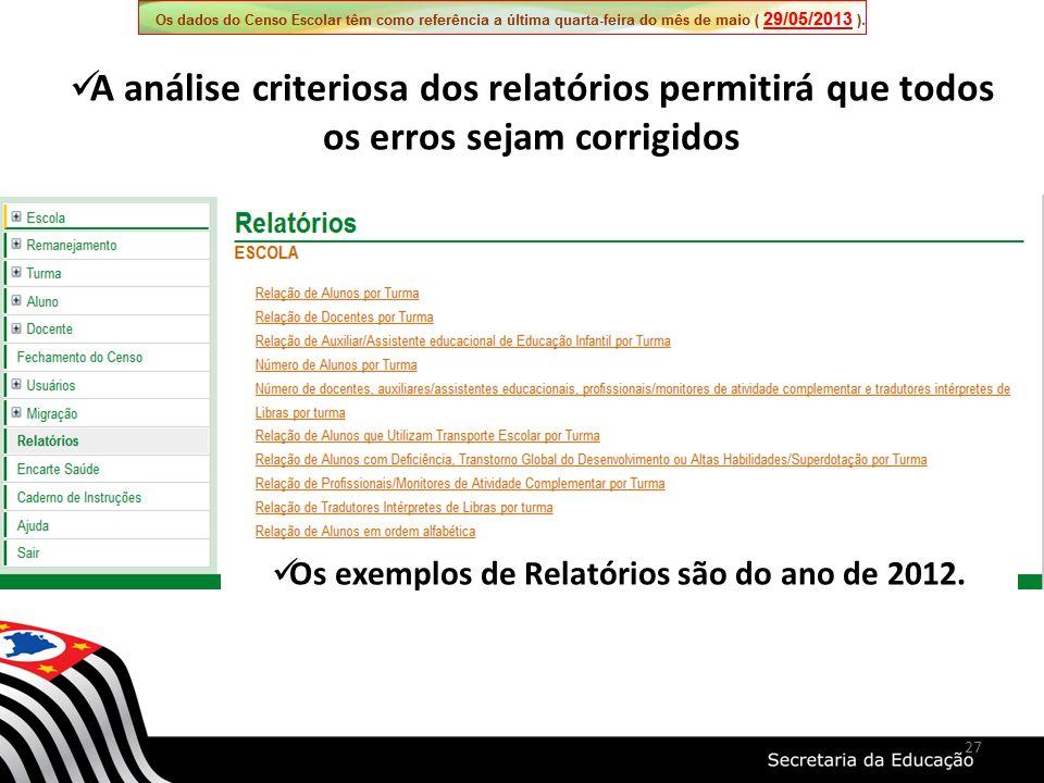 27 Os exemplos de Relatórios são do ano de 2012.