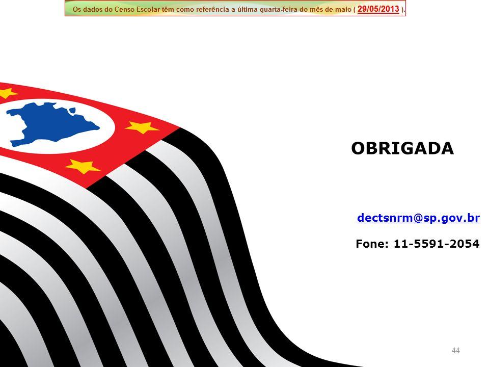 OBRIGADA dectsnrm@sp.gov.br Fone: 11-5591-2054 44