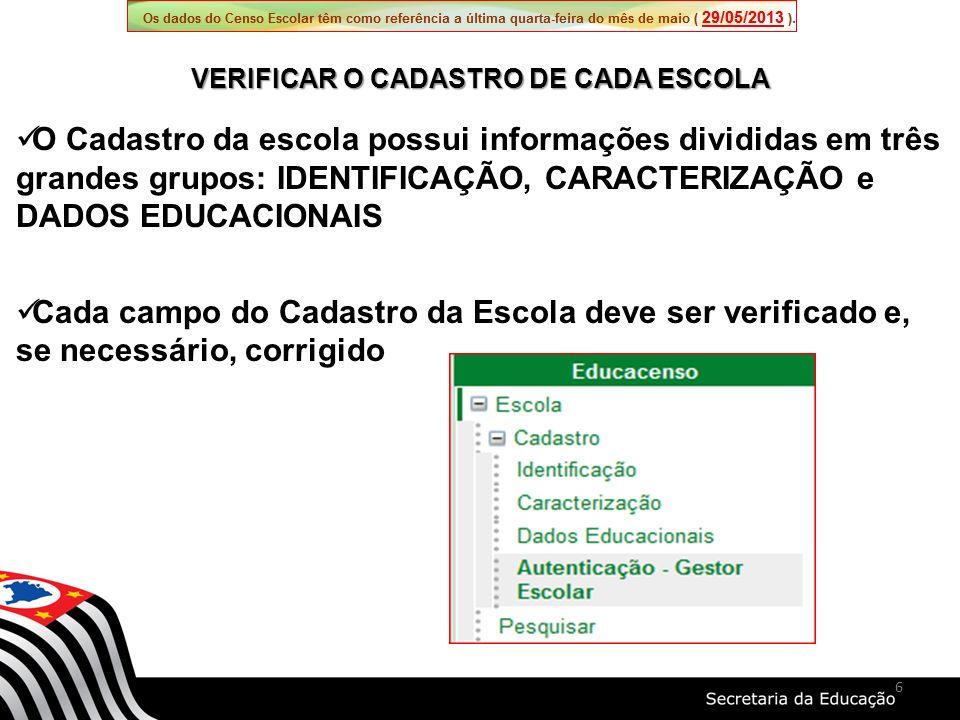 O Cadastro da escola possui informações divididas em três grandes grupos: IDENTIFICAÇÃO, CARACTERIZAÇÃO e DADOS EDUCACIONAIS Cada campo do Cadastro da Escola deve ser verificado e, se necessário, corrigido VERIFICAR O CADASTRO DE CADA ESCOLA 6