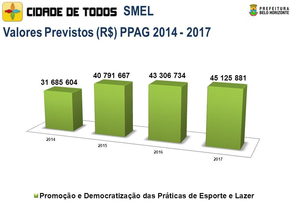 Valores Previstos (R$) PPAG 2014 - 2017 SMEL