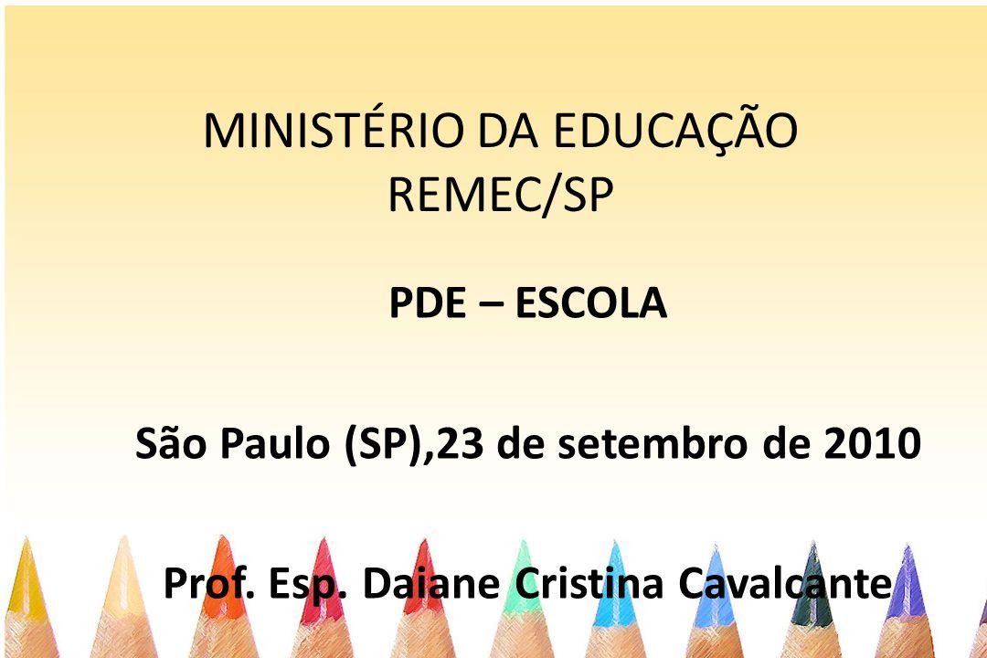 MINISTÉRIO DA EDUCAÇÃO REMEC/SP PDE – ESCOLA São Paulo (SP),23 de setembro de 2010 Prof. Esp. Daiane Cristina Cavalcante