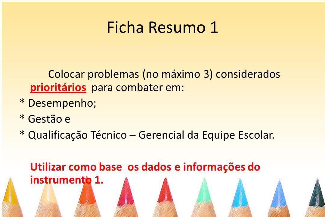 Ficha Resumo 1 Colocar problemas (no máximo 3) considerados prioritários para combater em: * Desempenho; * Gestão e * Qualificação Técnico – Gerencial