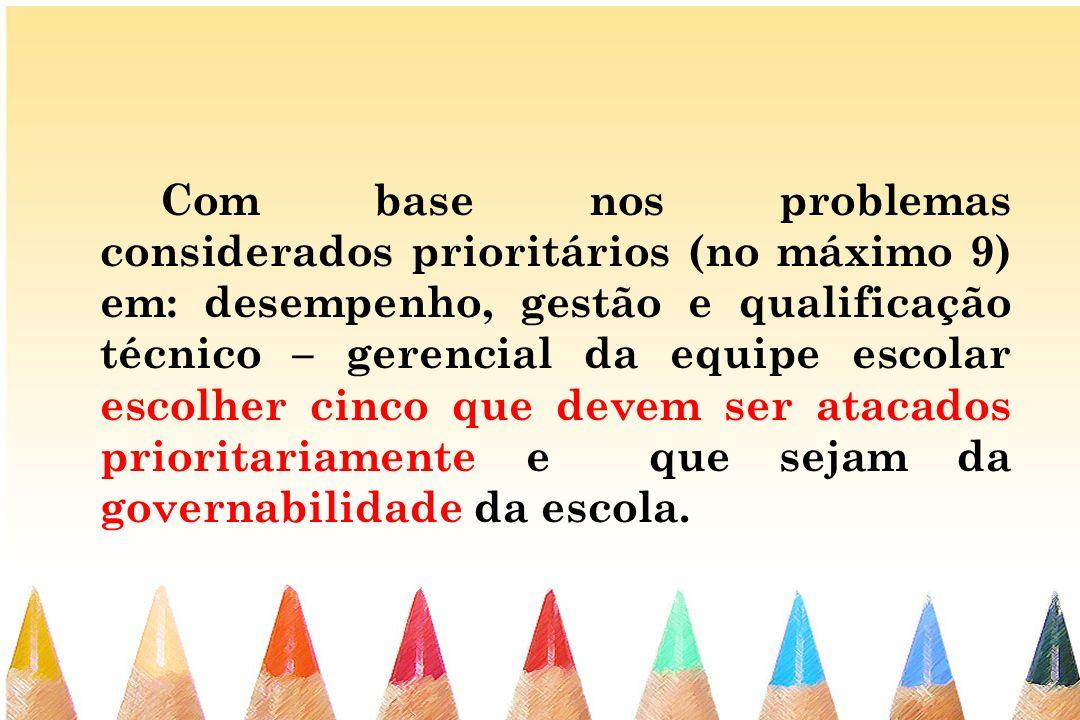 Com base nos problemas considerados prioritários (no máximo 9) em: desempenho, gestão e qualificação técnico – gerencial da equipe escolar escolher ci