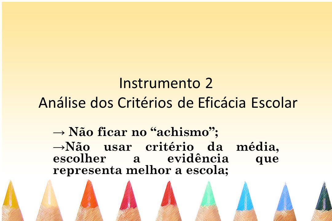 Instrumento 2 Análise dos Critérios de Eficácia Escolar Não ficar no achismo; Não usar critério da média, escolher a evidência que representa melhor a