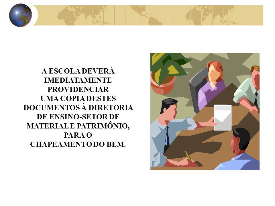 O TRANSPORTADOR ENTREGA O MATERIAL PERMANENTE NA UNIDADE ESCOLAR COM OS DEVIDOS DOCUMENTOS: NOTA FISCAL; GUIA DE PASSAGEM DE BENS; BOLETO DE ENTREGA, GUIA DE REMESSA, ETC..