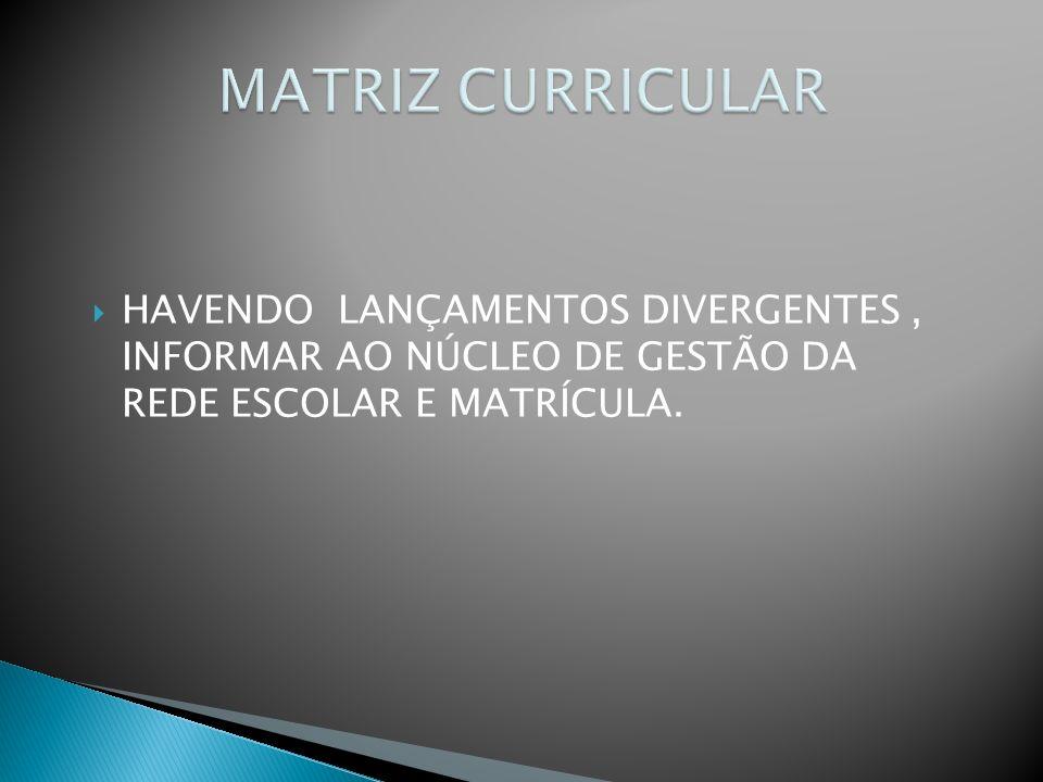 HAVENDO LANÇAMENTOS DIVERGENTES, INFORMAR AO NÚCLEO DE GESTÃO DA REDE ESCOLAR E MATRÍCULA.
