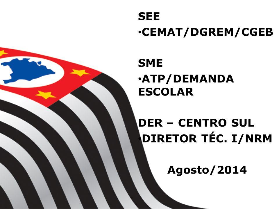 SEE CEMAT/DGREM/CGEB SME ATP/DEMANDA ESCOLAR DER – CENTRO SUL DIRETOR TÉC. I/NRM Agosto/2014
