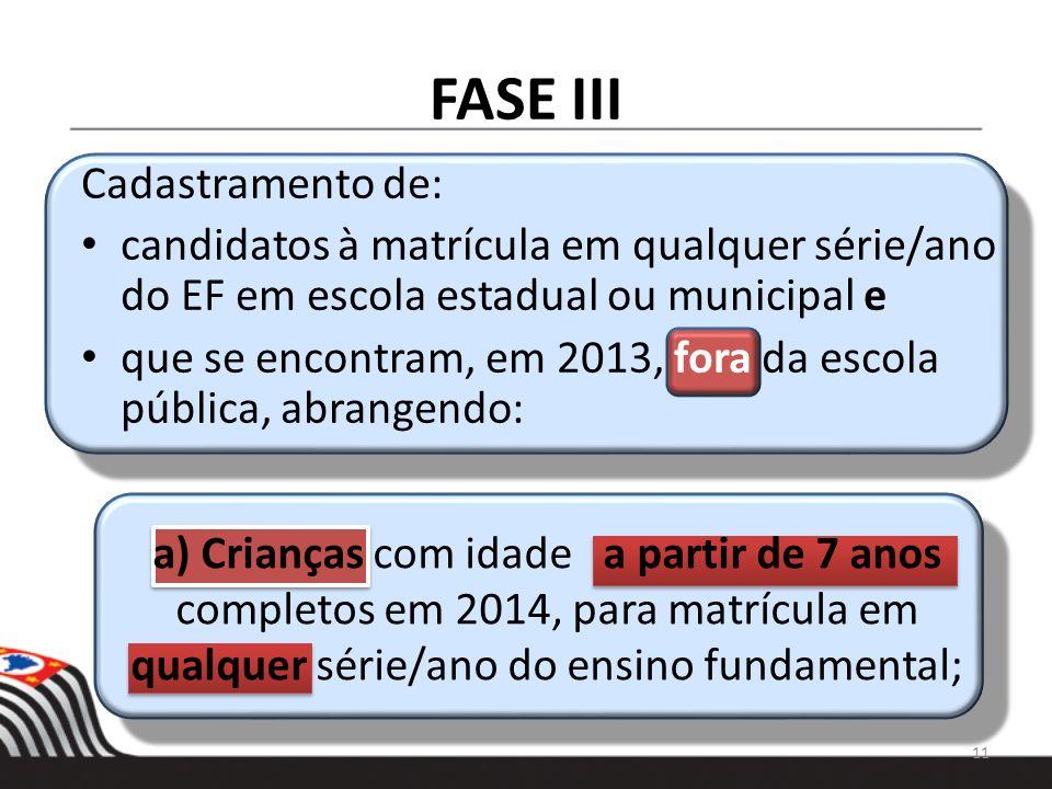 FASE III Cadastramento de: candidatos à matrícula em qualquer série/ano do EF em escola estadual ou municipal e que se encontram, em 2013, fora da esc