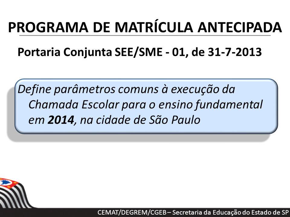 PROGRAMA DE MATRÍCULA ANTECIPADA Portaria Conjunta SEE/SME - 01, de 31-7-2013 Define parâmetros comuns à execução da Chamada Escolar para o ensino fun