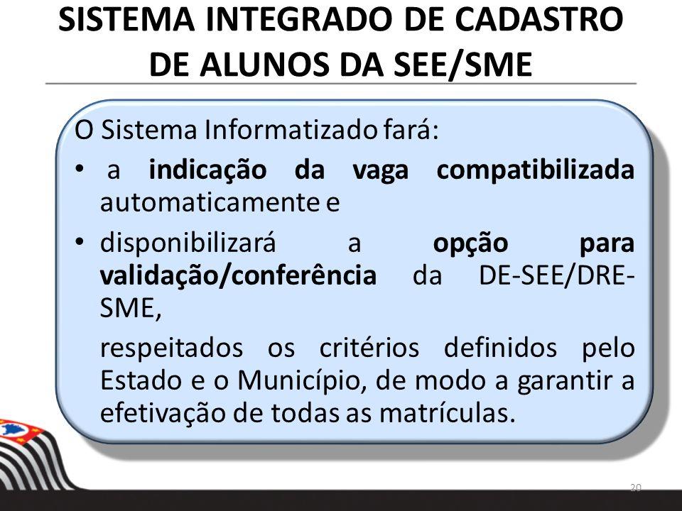 SISTEMA INTEGRADO DE CADASTRO DE ALUNOS DA SEE/SME O Sistema Informatizado fará: a indicação da vaga compatibilizada automaticamente e disponibilizará