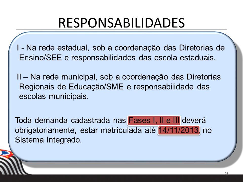 RESPONSABILIDADES 26 I - Na rede estadual, sob a coordenação das Diretorias de Ensino/SEE e responsabilidades das escola estaduais. II – Na rede munic