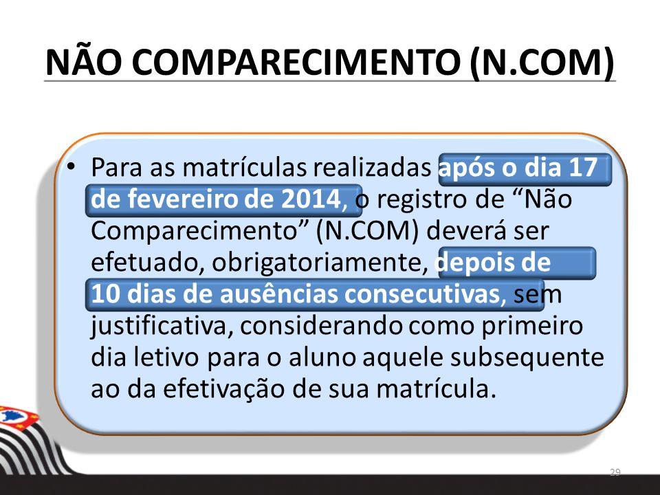 NÃO COMPARECIMENTO (N.COM) Para as matrículas realizadas após o dia 17 de fevereiro de 2014, o registro de Não Comparecimento (N.COM) deverá ser efetu