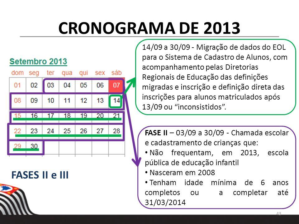 14/09 a 30/09 - Migração de dados do EOL para o Sistema de Cadastro de Alunos, com acompanhamento pelas Diretorias Regionais de Educação das definiçõe
