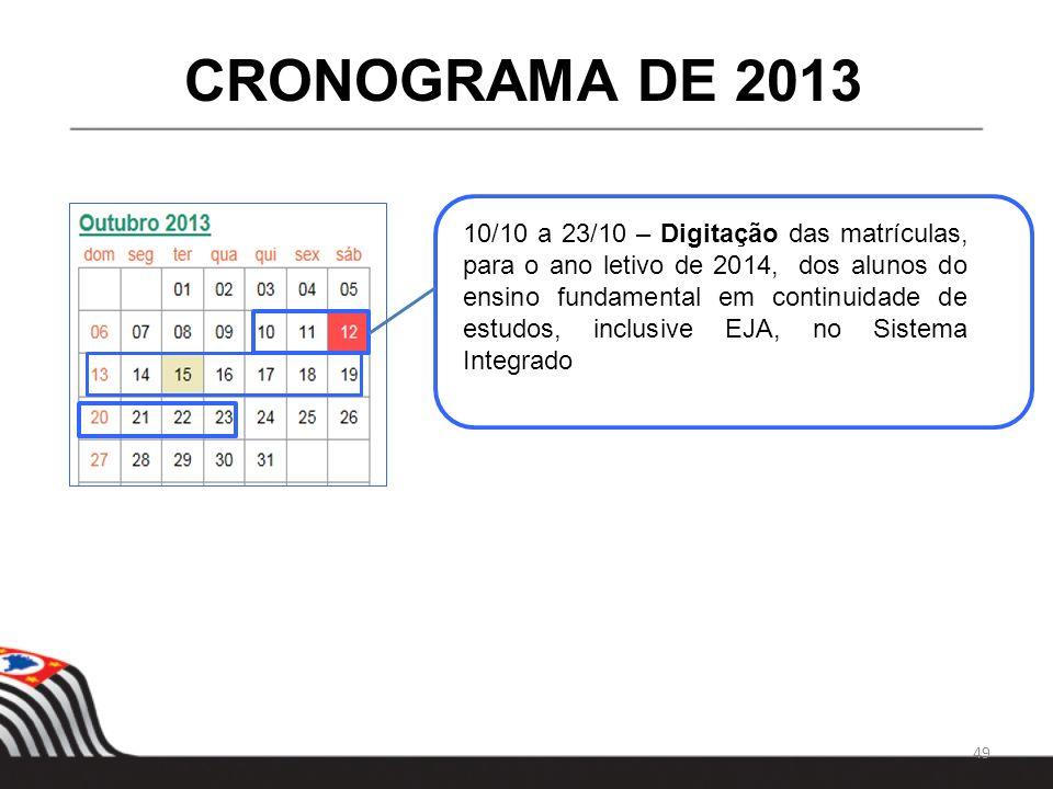 49 CRONOGRAMA DE 2013 10/10 a 23/10 – Digitação das matrículas, para o ano letivo de 2014, dos alunos do ensino fundamental em continuidade de estudos