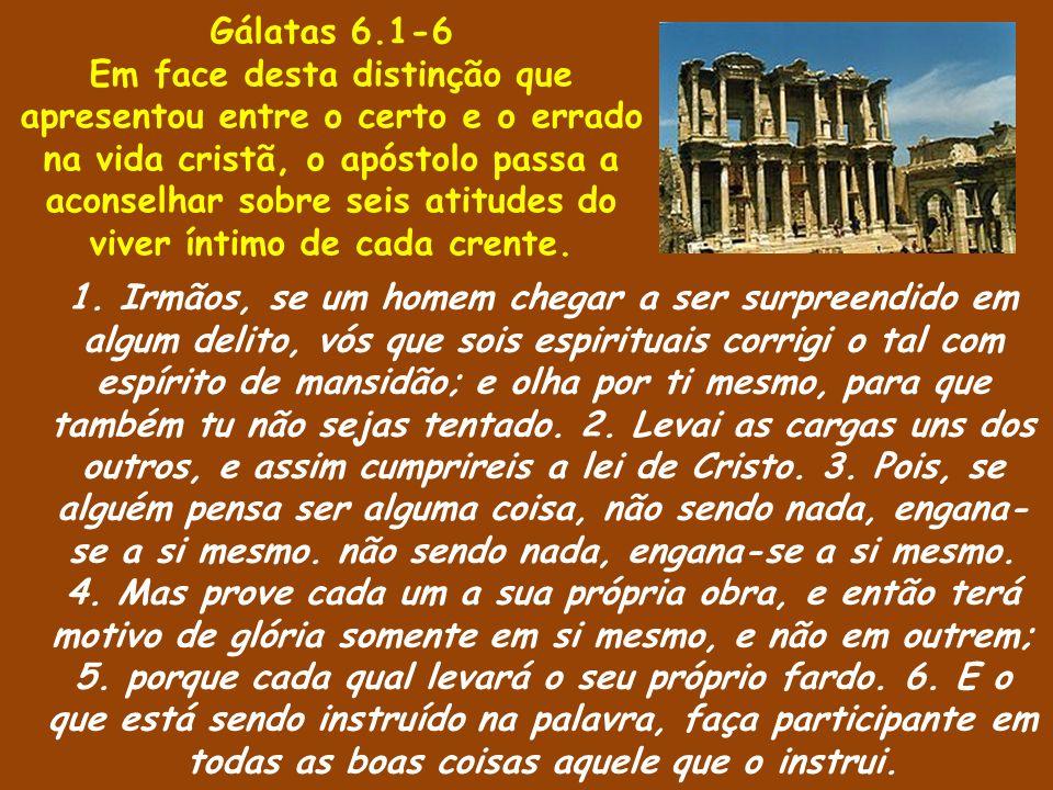 1. Irmãos, se um homem chegar a ser surpreendido em algum delito, vós que sois espirituais corrigi o tal com espírito de mansidão; e olha por ti mesmo