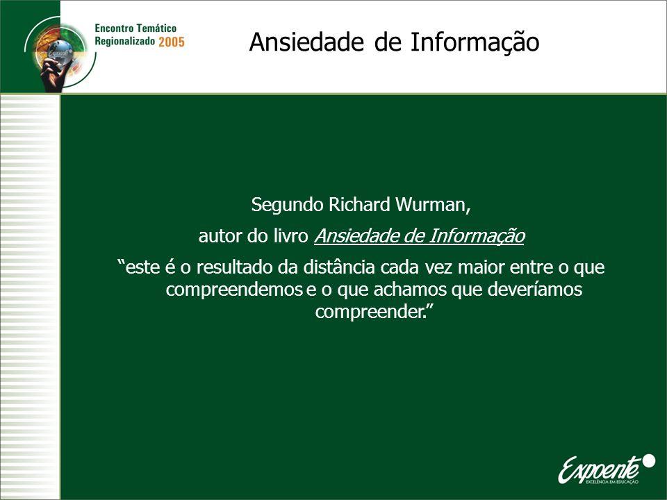 Ansiedade de Informação Segundo Richard Wurman, autor do livro Ansiedade de Informação este é o resultado da distância cada vez maior entre o que comp