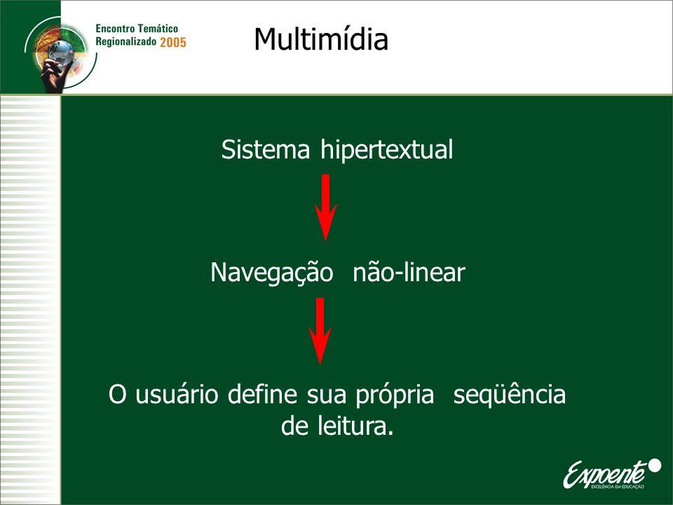 Sistema hipertextual Navegação não-linear O usuário define sua própria seqüência de leitura. Multimídia