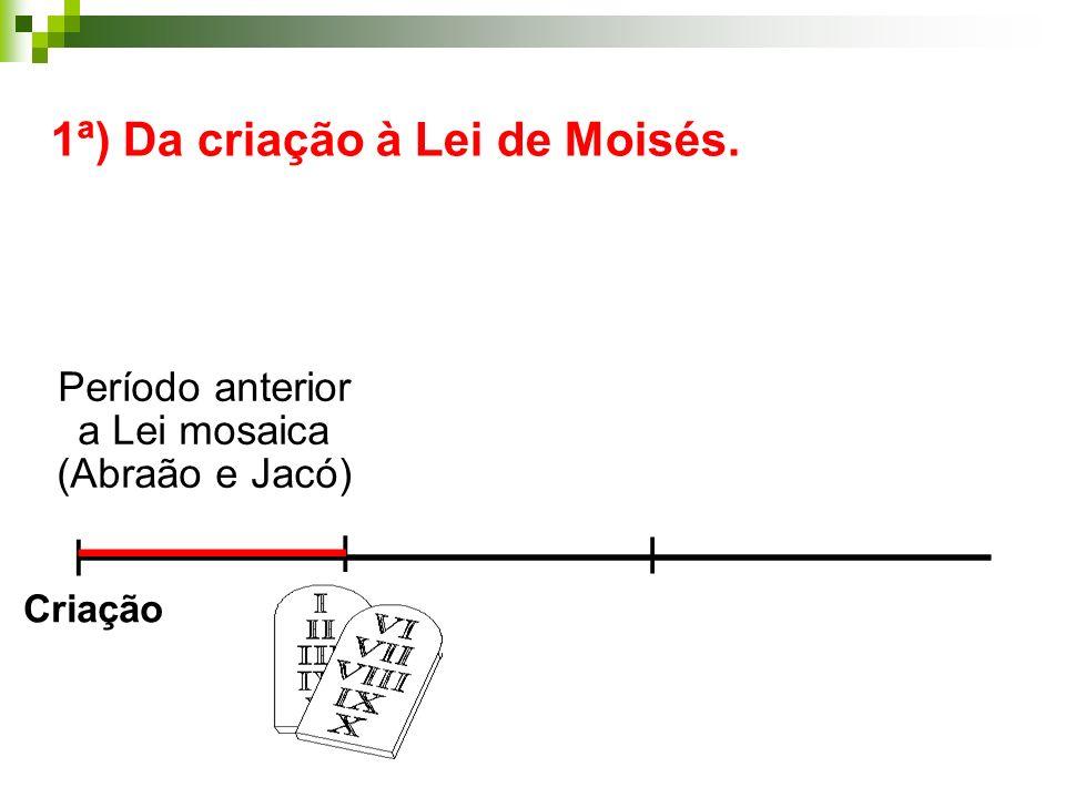 _______________________ 1ª) Da criação à Lei de Moisés. | | | ______ Período anterior a Lei mosaica (Abraão e Jacó) Criação