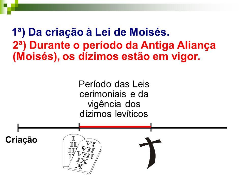 _______________________ 1ª) Da criação à Lei de Moisés. | | | _______ Período das Leis cerimoniais e da vigência dos dízimos levíticos Criação 2ª) Dur