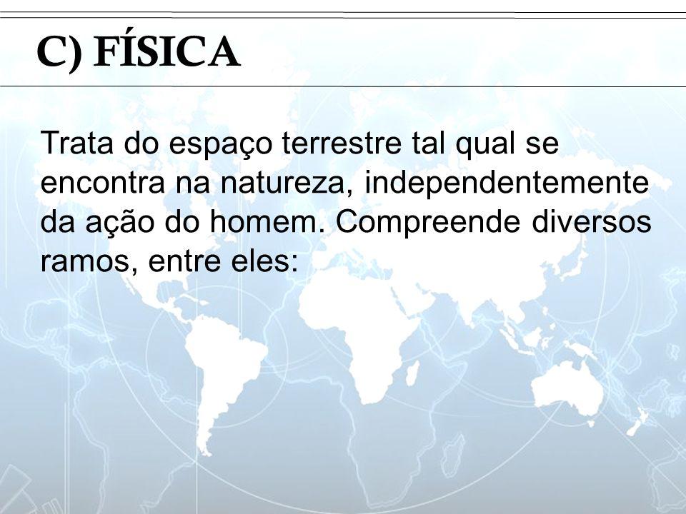 Introdução C) FÍSICA Trata do espaço terrestre tal qual se encontra na natureza, independentemente da ação do homem. Compreende diversos ramos, entre