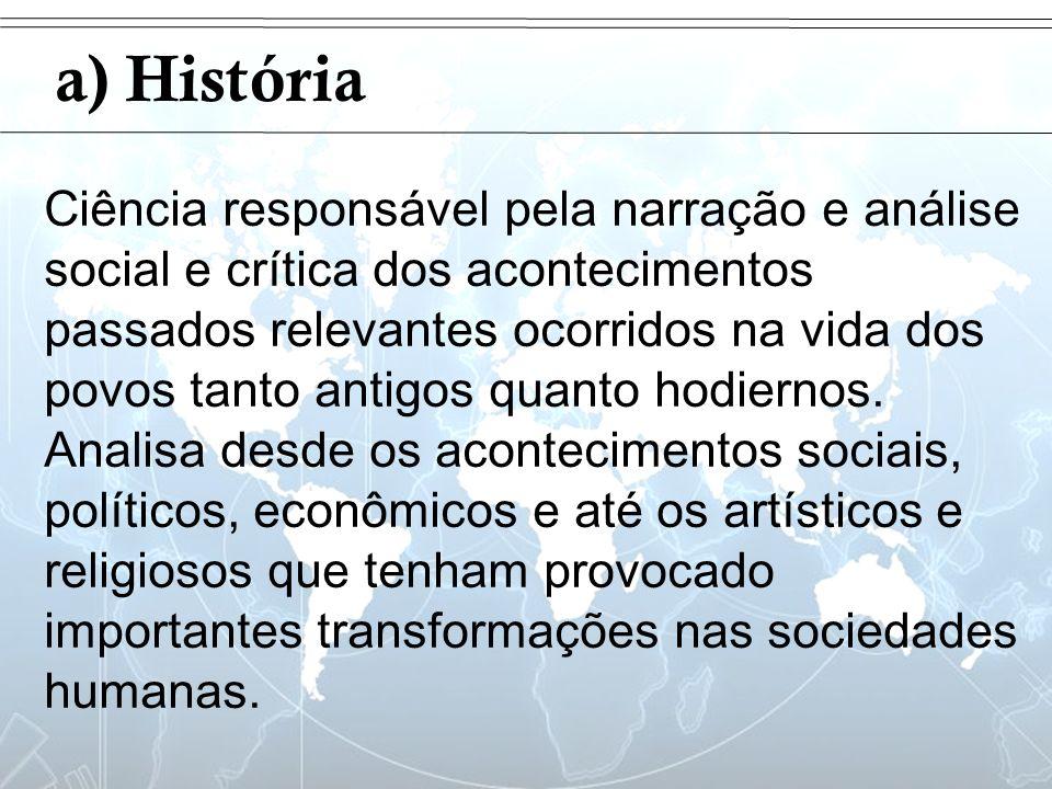 Introdução a) História Ciência responsável pela narração e análise social e crítica dos acontecimentos passados relevantes ocorridos na vida dos povos