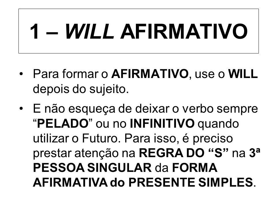 1 – WILL AFIRMATIVO Para formar o AFIRMATIVO, use o WILL depois do sujeito. E não esqueça de deixar o verbo semprePELADO ou no INFINITIVO quando utili