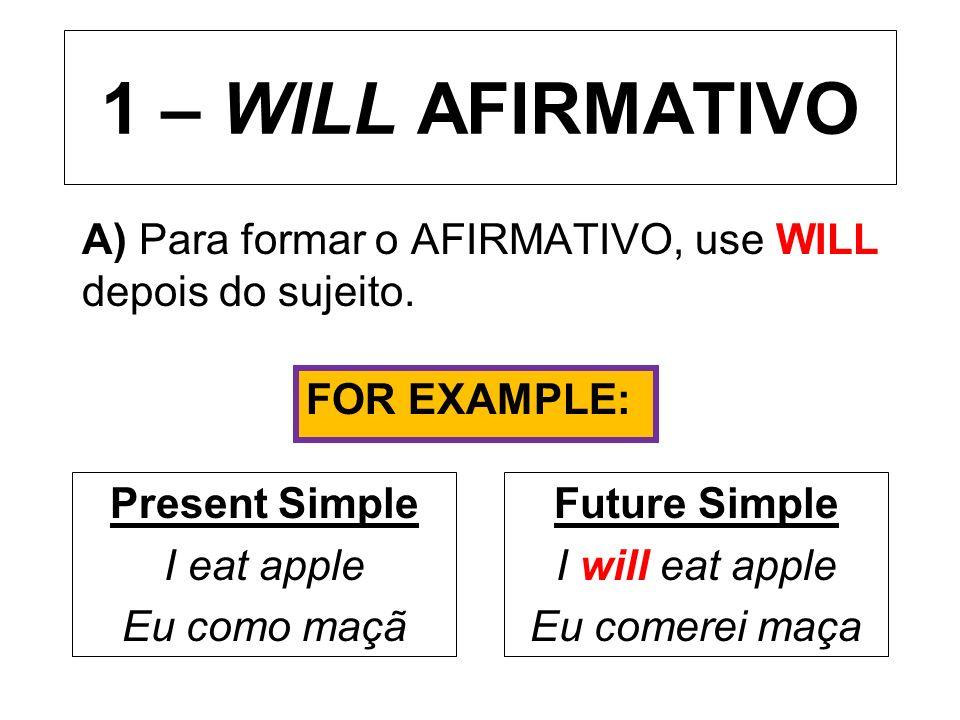 1 – WILL AFIRMATIVO A) Para formar o AFIRMATIVO, use WILL depois do sujeito. Present Simple I eat apple Eu como maçã Future Simple I will eat apple Eu