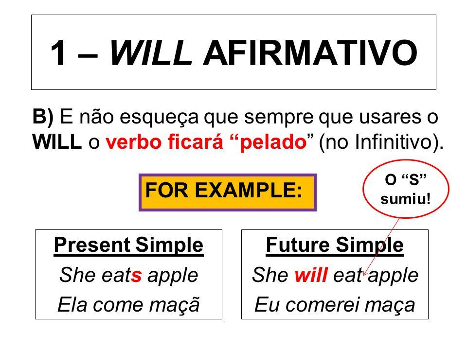 1 – WILL AFIRMATIVO B) E não esqueça que sempre que usares o WILL o verbo ficará pelado (no Infinitivo). Present Simple She eats apple Ela come maçã F