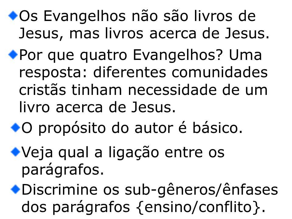 Os Evangelhos não são livros de Jesus, mas livros acerca de Jesus. Por que quatro Evangelhos? Uma resposta: diferentes comunidades cristãs tinham nece