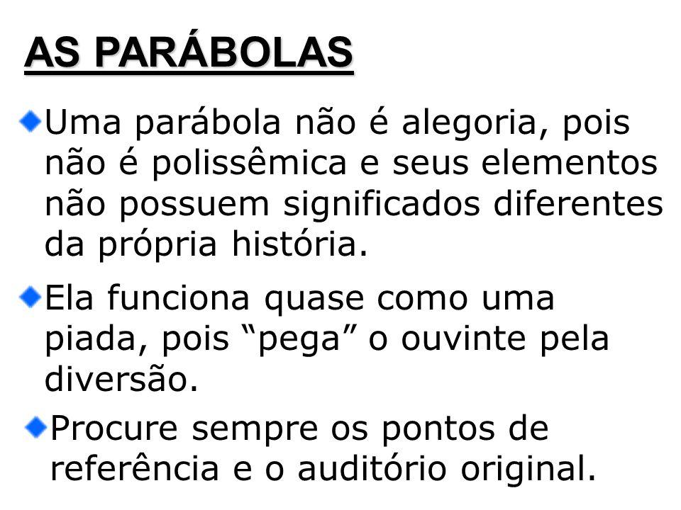 AS PARÁBOLAS Uma parábola não é alegoria, pois não é polissêmica e seus elementos não possuem significados diferentes da própria história. Ela funcion