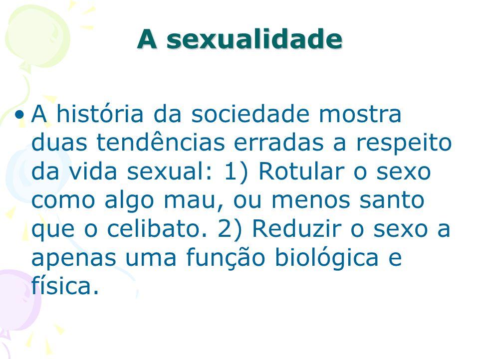 A história da sociedade mostra duas tendências erradas a respeito da vida sexual: 1) Rotular o sexo como algo mau, ou menos santo que o celibato. 2) R