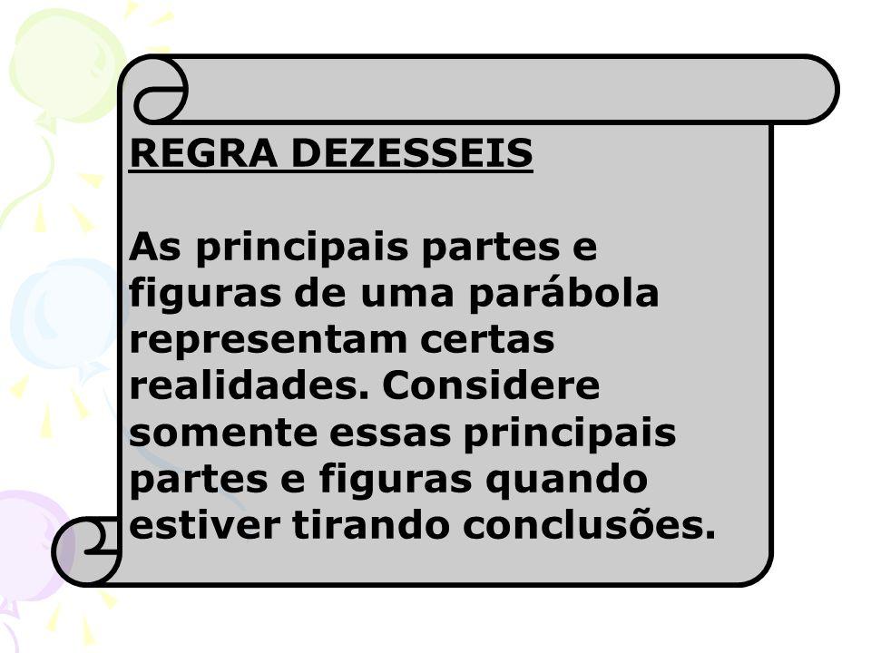 REGRA DEZESSEIS As principais partes e figuras de uma parábola representam certas realidades. Considere somente essas principais partes e figuras quan