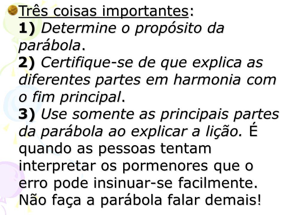 Três coisas importantes: 1) Determine o propósito da parábola. 1) Determine o propósito da parábola. 2) Certifique-se de que explica as diferentes par