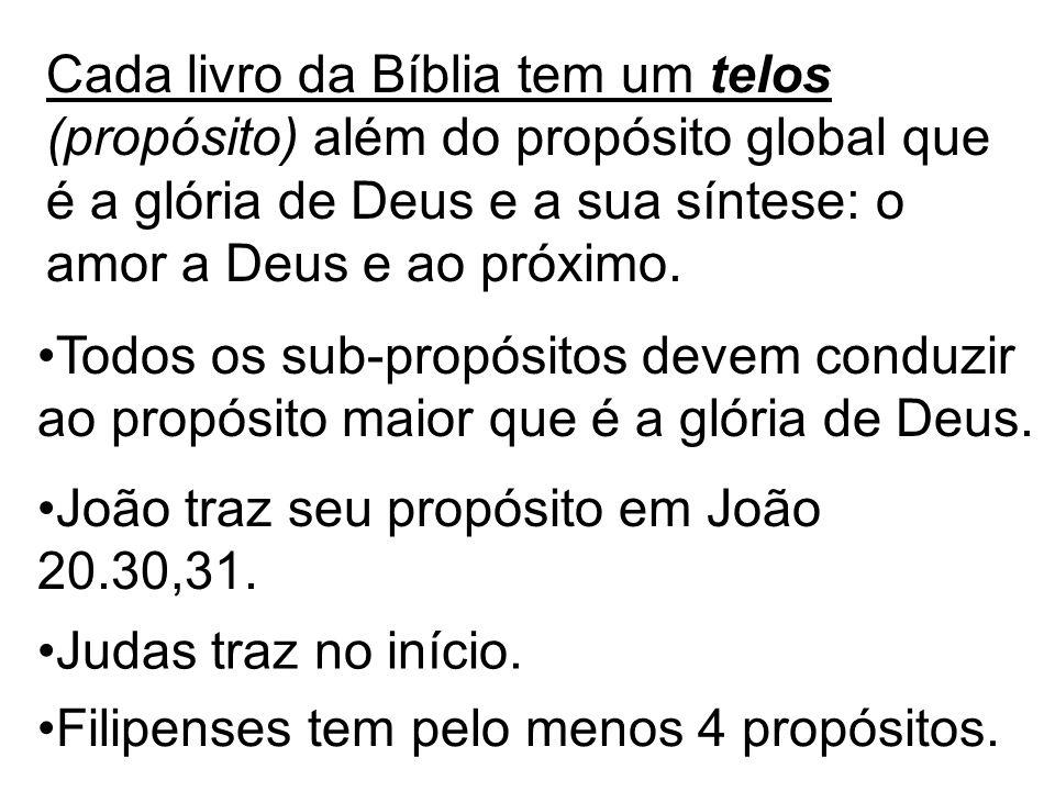 Cada livro da Bíblia tem um telos (propósito) além do propósito global que é a glória de Deus e a sua síntese: o amor a Deus e ao próximo. João traz s